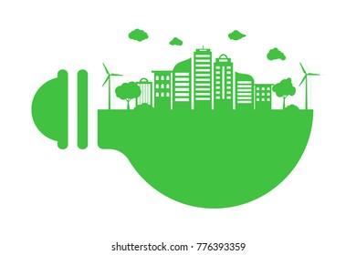Green cityscape on light bulb. Save environment. vector illustration
