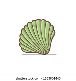 green clam vector illustration in isolated white