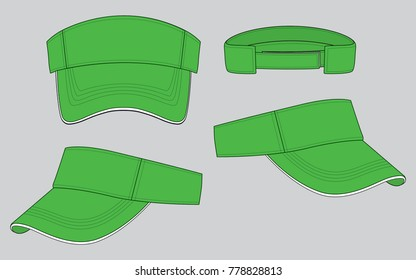 Green classic visor cap/hat  for template