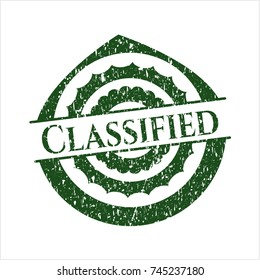 Green Classified grunge style stamp