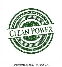 Green Clean Power rubber grunge stamp