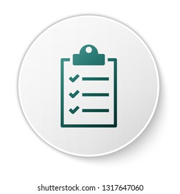 Green Clipboard with checklist icon isolated on white background. Green circle button. Vector Illustration