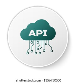 Green Cloud api interface icon isolated on white background. Application programming interface API technology. Software integration. White circle button. Vector Illustration