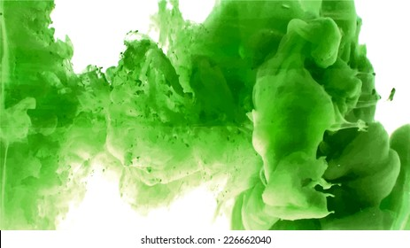 Green cloud of ink swirling in water. Abstract background