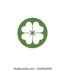 Green Clover Leaf icon Template Design Vector