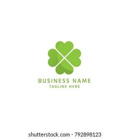 Green Clover Leaf Logo Design Vector