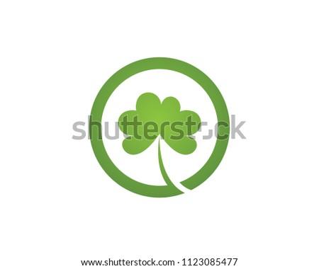 green clover leaf logo template design stock vector royalty free