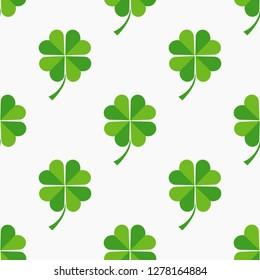Green clover leaves seamless pattern. Vector illustration.