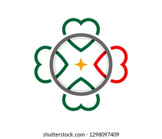green clover red heart love ornament design