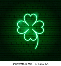 Green Cloverleaf Neon Sign. Vector Illustration of Nature Promotion.