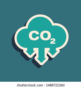 Green CO2 emissions in cloud icon isolated on blue background. Carbon dioxide formula symbol, smog pollution concept, environment concept. Long shadow style. Vector Illustration