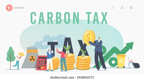 Green Co2 Taxes Landing Page Template. Tiny Characters at Huge Coins Piles with Sprouts Growing and Factory Pipe Emitting Smoke. Taxation for Nature Pollution. Cartoon People Vector Illustration