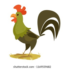 A green cock. Cartoon children's style. Vector illustration on white background.