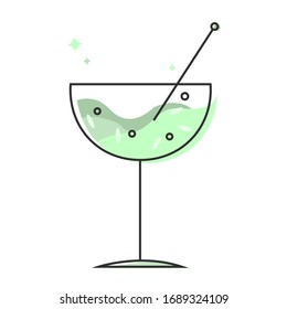 Green coctail gin cucumber fizz icon