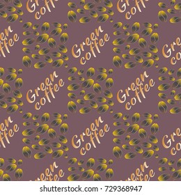Green coffee bean seamless pattern background. Illustration with text.