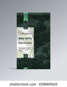 Green Coffee packaging design with hand-drawn illustration of coffee branch & grains. Template paper dark green packing with label isolated vector vintage