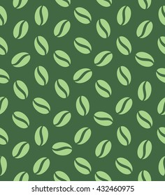 green coffeebeans seamless pattern