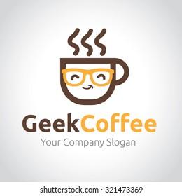 Green Coffee,coffee logo,geek logo,Vector logo template