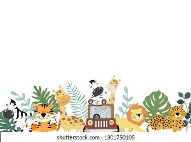 Grüne Sammlung von Safari-Hintergrund mit Zebra, Löwe, Giraffe.Bearbeitbare Vektorgrafik zur Geburtstagseinladung, Postkarte und Aufkleber