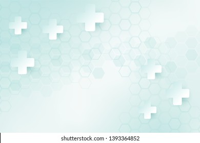 Green color of abstract healthy and medical background. Technology and science wallpaper template with hexagonal shape. Soft blue color medical banner template with space for text.