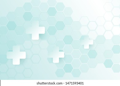 Green color of abstract healthy and medical background. Technology and science wallpaper template with hexagonal shape. Soft blue color medical banner. Modern template with space for text.