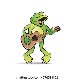 green color happy frog mascot playing guitar-vector drawing