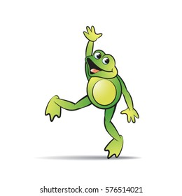 green color happy frog mascot dancing-vector drawing