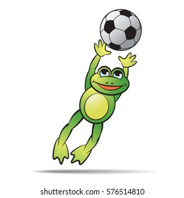 green color happy frog mascot catching football-vector drawing