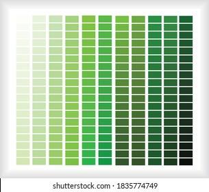 Green color palette, color blend, color shade illustration
