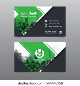 Green Color Scheme with City Background Business Card Design Template. Can be adapt to Brochure, Annual Report, Magazine,Poster, Corporate Presentation, Portfolio, Flyer, Website