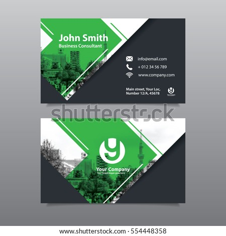 Green color scheme city background business stock vector royalty green color scheme with city background business card design template can be adapt to brochure colourmoves