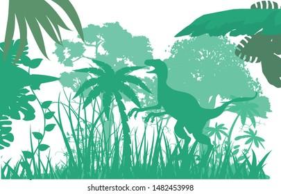 Green color silhouettes Jungle animals, wildlife jungle scene, vector silhouette. Wildlife theme