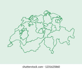 Green color Switzerland map with lines of different cantons on light background vector illustration
