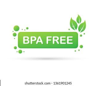 Green colored BPA free emblems, badge, logo, icon. Vector stock illustration.