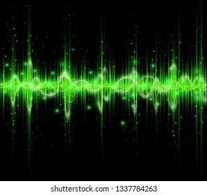 Green colored equalizer or waveform design, vector illustration of musical pulse