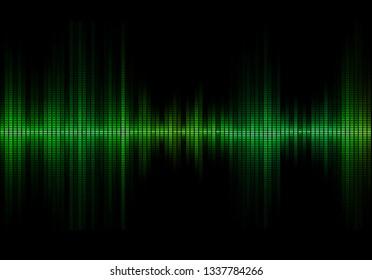 Green colored music sound waves for equalizer or waveform design, vector illustration of musical pulse