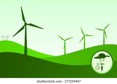 Green colored wind turbine generators fields. At the bottom right Don Quixote smiling and making OK gesture