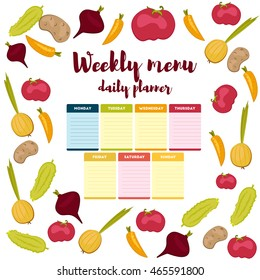 Green colorful modern paper Infographic note week healthy eating doodle. Breakfast, lunch, dinner. Weekly menu calendar Infographic. Template shopping list product and vegetables. Planner Vector.