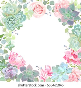 Green colorful succulents vector design card. Echeveria, protea, eucalyptus, hydrangea, rose. Botanical style banner with flower mix. Modern funky cactus blank. All elements are isolated and editable
