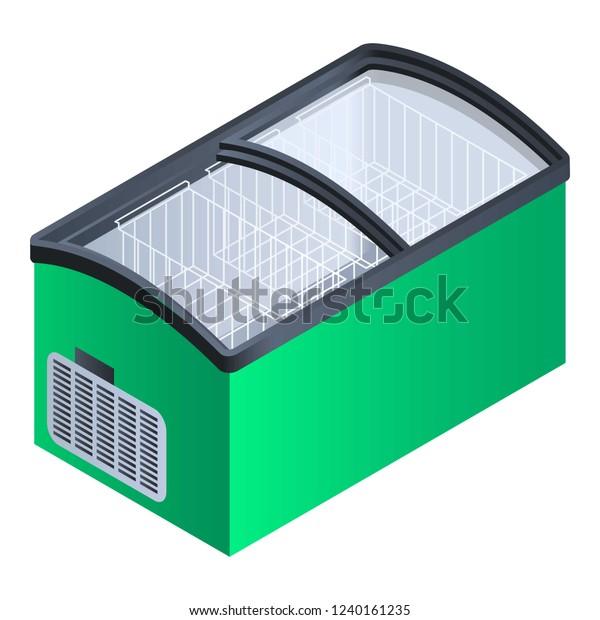 Green commercial fridge icon. Isometric of green commercial fridge vector icon for web design isolated on white background