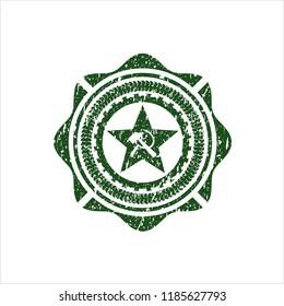 Green communism icon inside distress rubber grunge texture seal