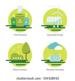 Green community environment improvement flat vector icon set