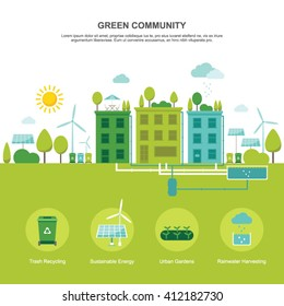 Green community sustainable environment flat vector illustration