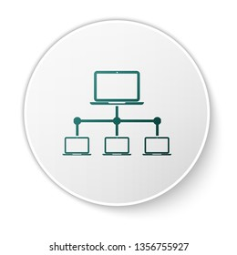 Green Computer network icon isolated on white background. Laptop network. Internet connection. White circle button. Vector Illustration