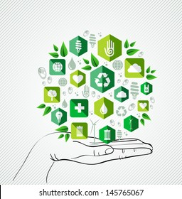 Green concept icons circle over palm design. Vector file layered for easy manipulation and custom coloring.