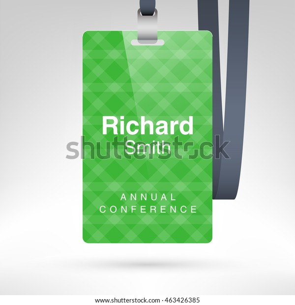 Green Conference Badge Name Tag Placeholder Stock Vector (Royalty