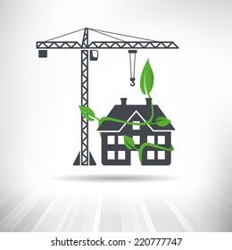 Green Construction Concept. Crane next to house surrounded by green leaves. Fully scalable vector illustration.