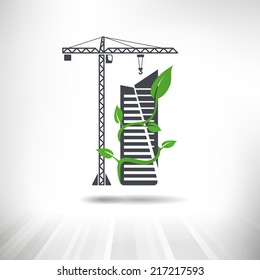 Green Construction Concept. Tower crane next to office building surrounded by green leaves. Fully scalable vector illustration.