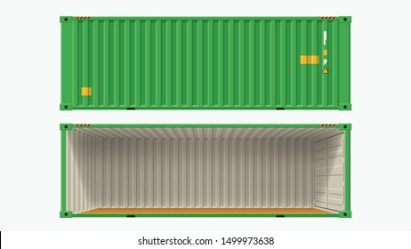 green container without side wall