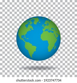 with green continents and blue water. 3D world planet on transparent background. Spherical model of Earth